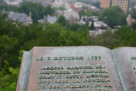 Plaque de Jacques Cartier on Mont Royal