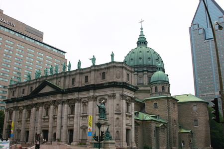 cathedrale: Building of Cathedrale Marie-Reine-du-Monde downtown Montreal Editorial