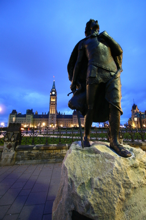 sir: Ottawa Parliament Hill - Sir Galahad Statue in front of the entrance