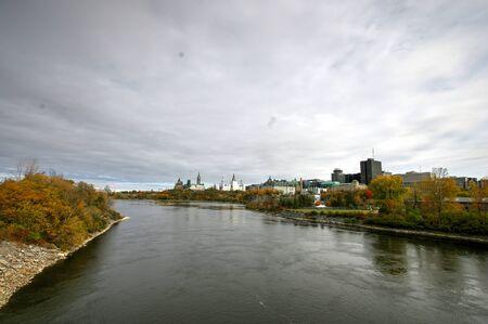 portage: A view of Ottawa Parliament Hill and river Ottawa from Portage Bridge Stock Photo