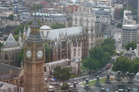 arial: An arial view of House of Parliament and Big Ben