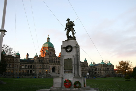 BC Parliament building in Victoria with a view of the memorial
