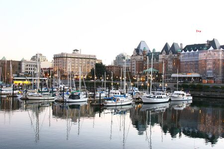 victoria bc: Marina at Victoria BC in front of the parliament building Editorial