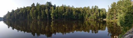 Reflection on a lake at Tremblant early morning