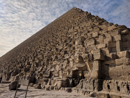 Giza Pyramids with blue skies and clouds