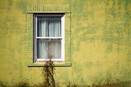 ビンテージ緑壁 w ホワイト ウィンドウ
