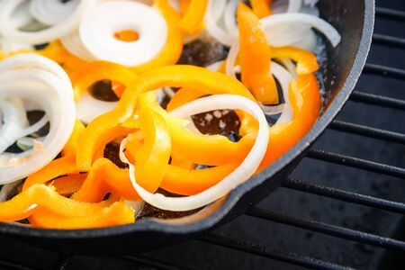 Bell Peppers  Onions in Cast Iron Skillet