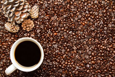 Coffee Beans  Cup of Coffee with Holiday Pine Cones