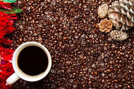 Coffee Beans w Coffee Cup Christmas Frame Border Stok Fotoğraf