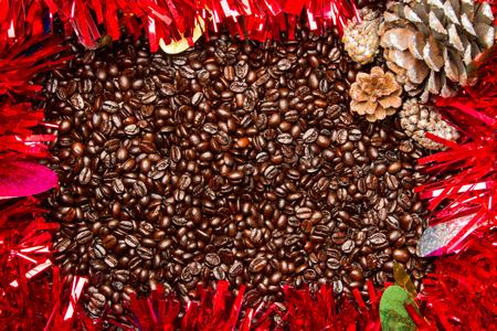 コーヒー豆のクリスマス フレームの境界線