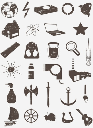 grunge vector icon set  Illustration