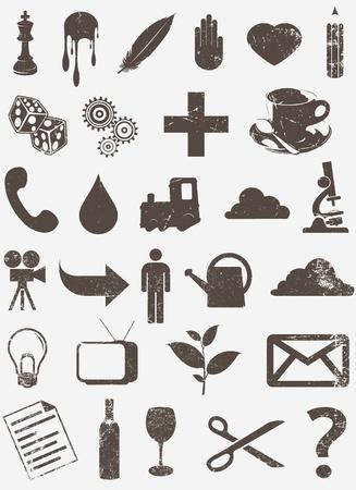 grunge vector icon set 2 Illustration