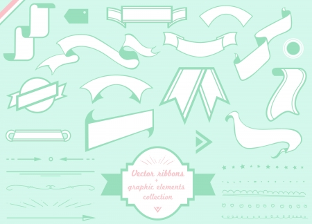 vector ribbons, frames and graphic elements collection Stock Vector - 20325436