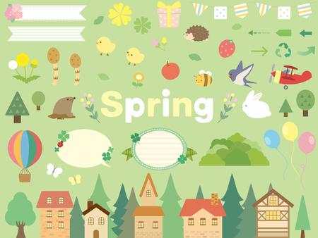 Spring set design Ilustracja