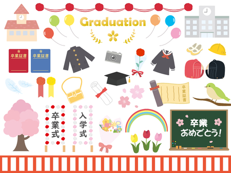 Graduation and enroll 일러스트