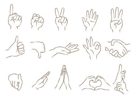 Hand sign set Illustration