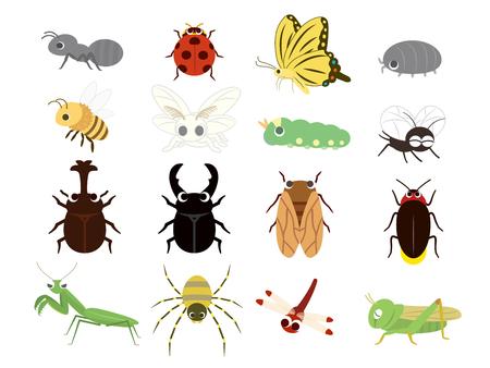 Lindo conjunto de insectos Ilustración de vector