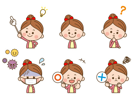 Girl facial expression 向量圖像
