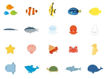 Sea animals fish set