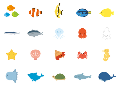 Sea animals fish set