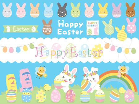 Easter egg bunny set2 Çizim