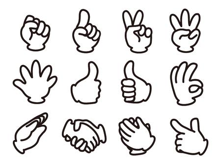 Hand signal icon set