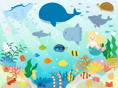 It + is + an + illustration + of + A + Sea + animals. Vecteurs
