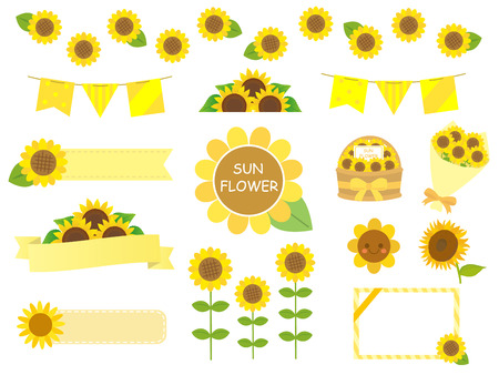 It + is + an + illustration + of + A + sunflower + set. Vectores