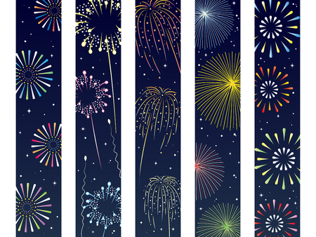 It is an illustration of a Fireworks obi set. Vectores