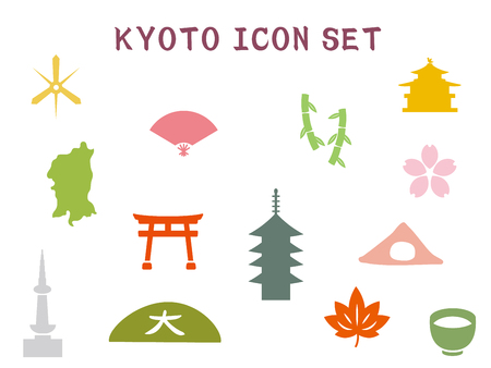 It is an illustration of a Kyoto icon set. Illustration