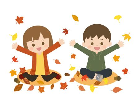 It is an illustration of a Autumn kids. Ilustração