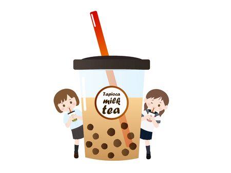 It is an illustration of a Tapioca milk tea.
