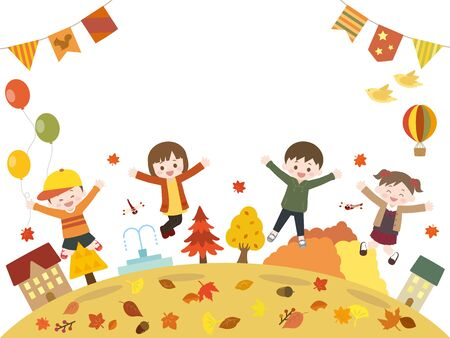 It is an illustration of a Autumn kids. 向量圖像