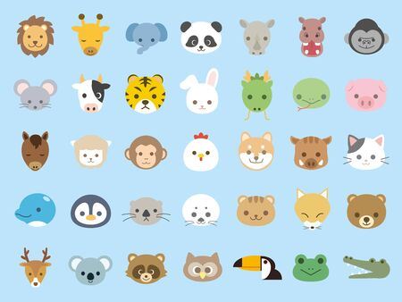 It is an illustration of animal icon set.