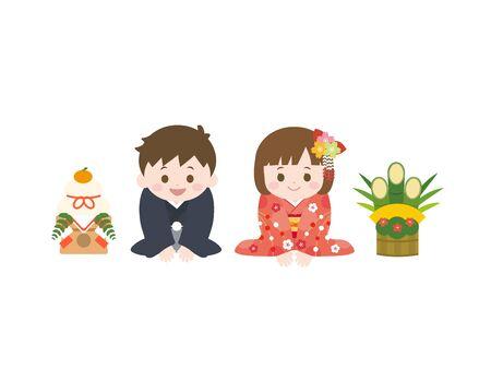 It is an illustration of a New year kids. Ilustração