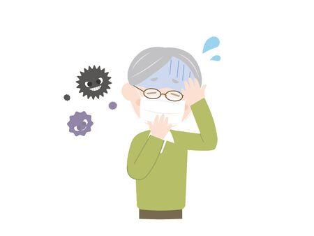 Es una ilustración de un anciano resfriado. Ilustración de vector