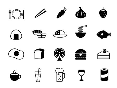 It is an illustration of a Food icon set. Иллюстрация