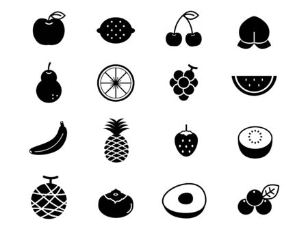 It is an illustration of a Fruit icon set.