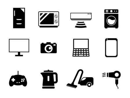 It is an illustration of a Home appliances icon set.