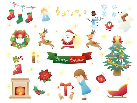 It is an illustration of a Christmas set.