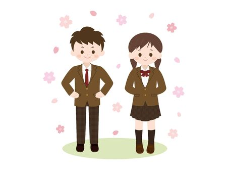 It is an illustration of a Student and Sakura.