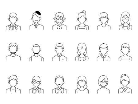 It is an illustration of a People icon set.