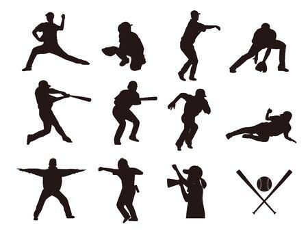 C'est une illustration d'une silhouette de baseball. Vecteurs