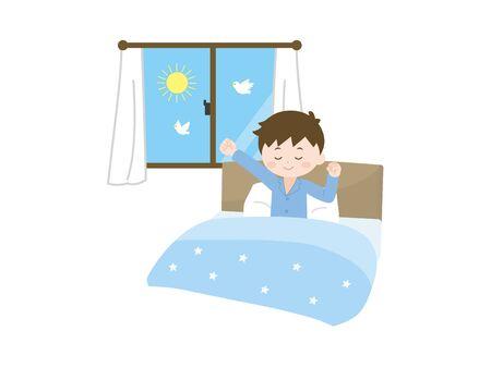 Boy gets up Ilustração