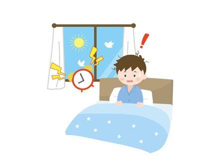 Es ist eine Situation von Schlaflosigkeit Junge. Vektorgrafik