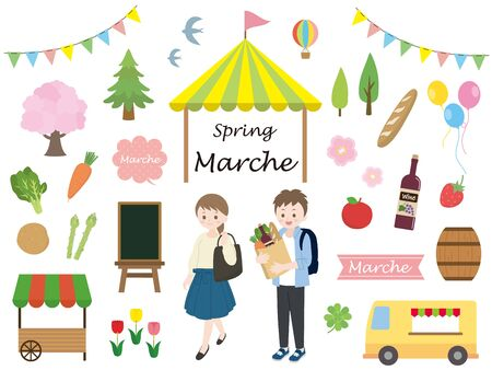 It is an illustration of a Spring marche. Stock Vector - 137159862