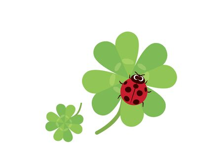 It is an an illustration of a clover and ladybug.