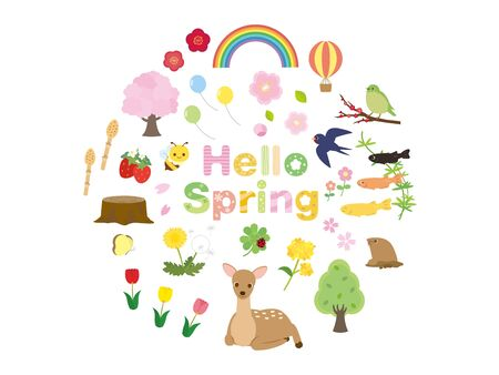It is an illustration of a Spring set. Ilustracja
