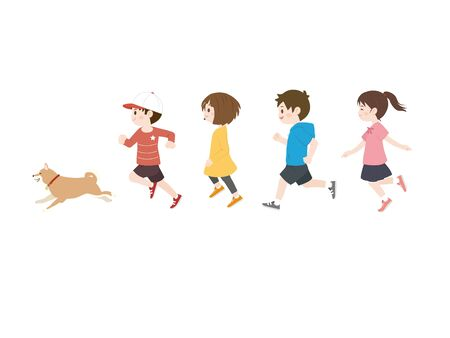 It is an illustration of kids running.