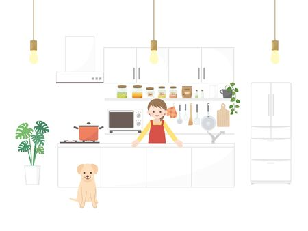 It is an of a Kitchen illustration room.